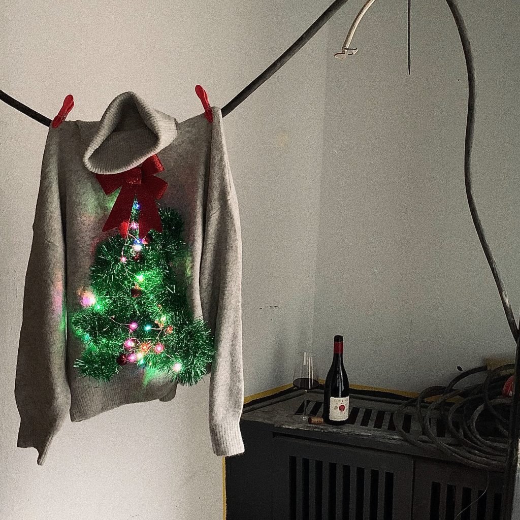 christmas, sweater, party, wine